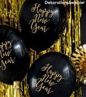 """Luftballons """"Happy New Year"""" - schwarz/gold - 30 cm - 6 Stück"""