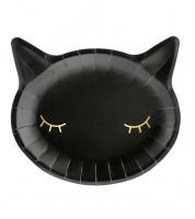 Katzen-Pappteller - schwarz/gold - 6 Stück