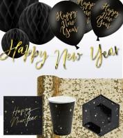 "Silvester-Deko-Set ""Happy New Year"" - schwarz & gold - 48-teilig"