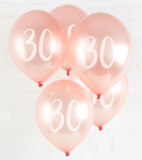 "Metallic-Luftballons ""30"" - rosegold - 5 Stück"