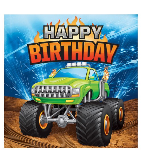"Servietten ""Monster Truck Show"" - Happy Birthday - 16 Stück"