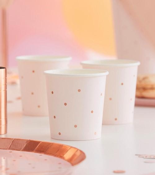 Shot-Pappbecher mit rosegoldenen Punkten - 10 Stück