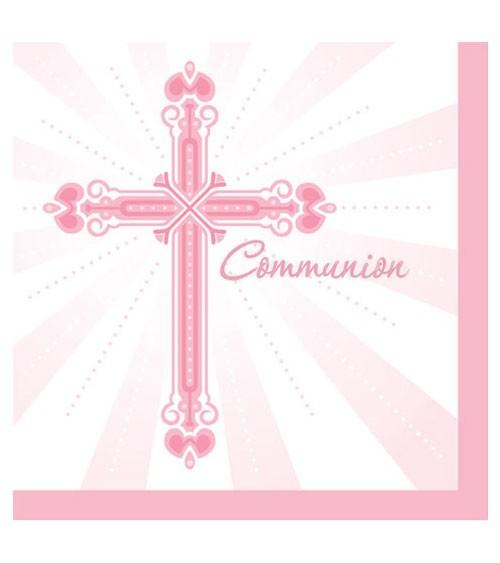 """Servietten """"Kreuz - rosa"""" - """"Communion"""" - 36 Stück"""