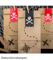 """Papiertüten mit Stickern """"Pirates Party"""" - 6 Stück"""