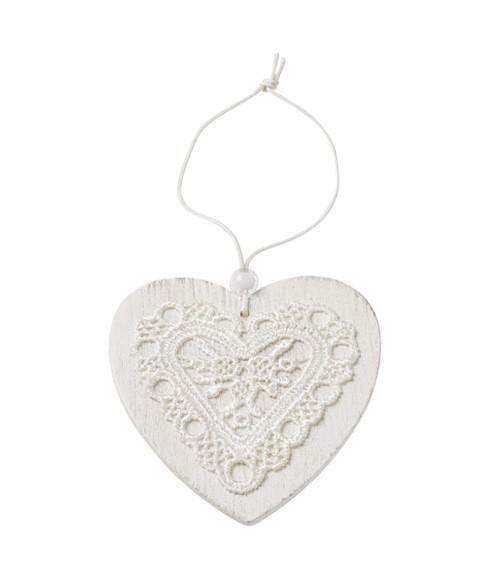 Holz-Herz mit Spitze zum Hängen - weiß - 7,5 cm
