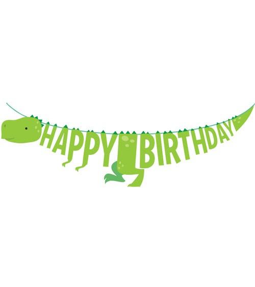 "Dino-Girlande ""Happy Birthday"" - hellgrün - 1,67 m"
