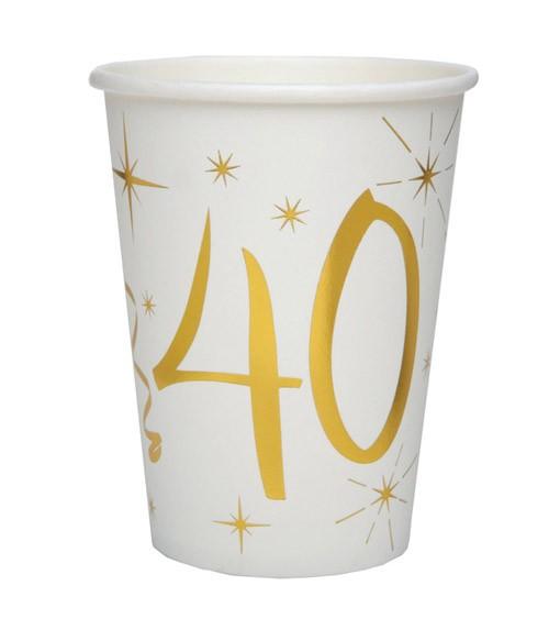 "Pappbecher ""40"" - weiß, gold - 10 Stück"