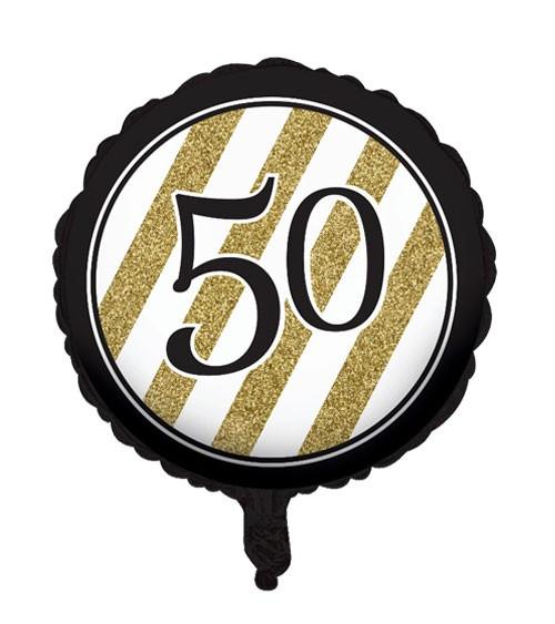 "Runder Folienballon ""Black & Gold"" - 50. Geburtstag"