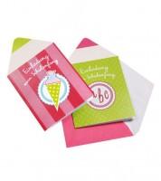 "Einladungen zum Schulanfang ""Stift"" - pink/grün - 5 Stück"