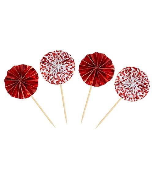 Party-Picks mit Papierfächer - rot - 8 Stück