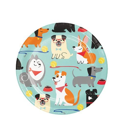 """Kleine Pappteller """"Hunde-Party"""" - 8 Stück"""
