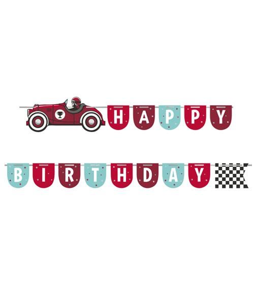 """Happy Birthday-Girlande """"Oldtimer Rennwagen"""" - 1,67 m"""
