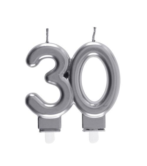 "Geburtstagskerze ""30"" - silber - 7,5 x 7 cm"