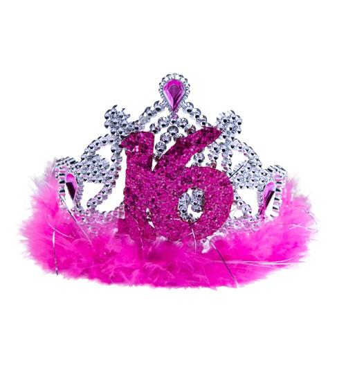 """Diadem mit pinkfarbenen Federn """"16. Geburtstag"""""""
