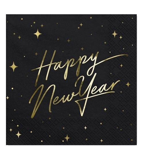 """Servietten """"Happy New Year"""" - schwarz/gold - 20 Stück"""