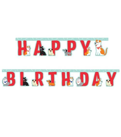 """Happy Birthday-Girlande """"Hunde-Party"""" - 2,18 m"""