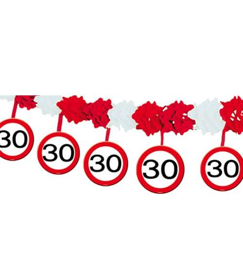 """Papiergirlande mit Anhängern """"Verkehrsschild"""" - 30. Geburtstag - 4 m"""