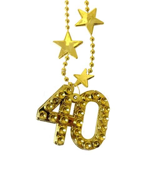 """Goldene Halskette aus Kunststoff """"40. Geburtstag"""""""