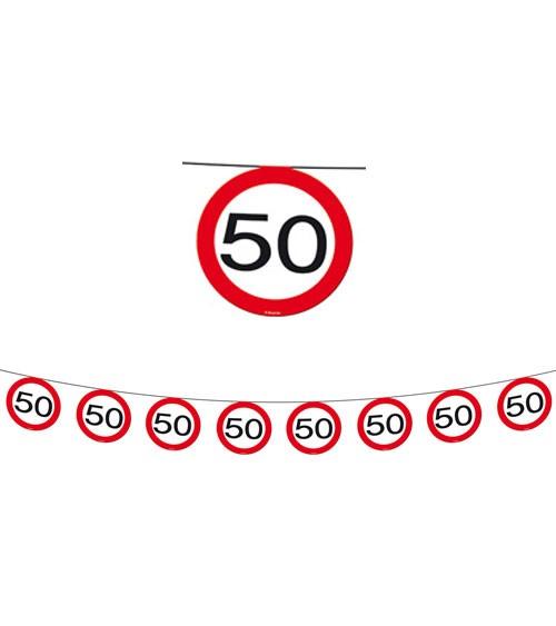 "Wimpelgirlande ""Verkehrsschild"" - 50. Geburtstag - 12 m"