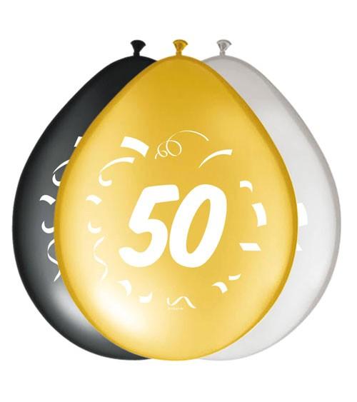 """Luftballon-Set """"50"""" - schwarz, gold, silber - 8 Stück"""
