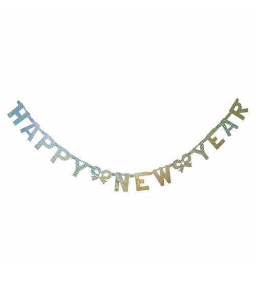 "Holographic-Wimpelkette ""Happy New Year"" - silber - 1,55 m"