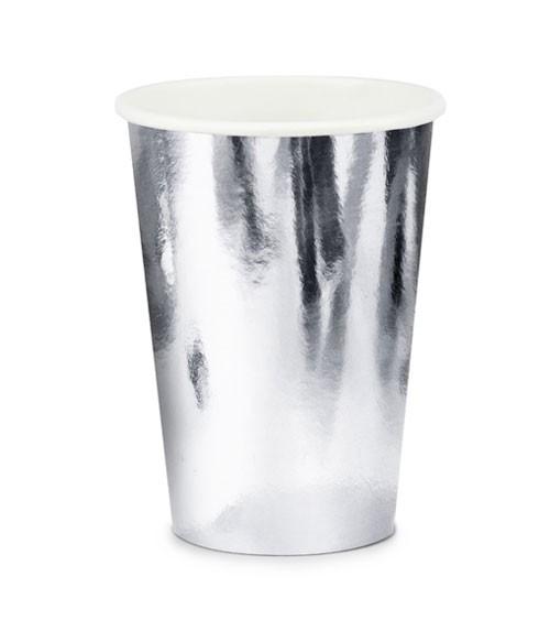 Pappbecher - metallic silber - 6 Stück