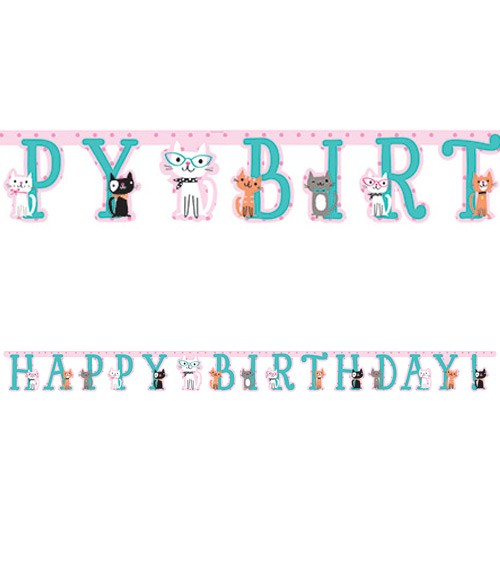 """Happy Birthday Girlande """"Kleine Katzen"""" - 2,32 m"""