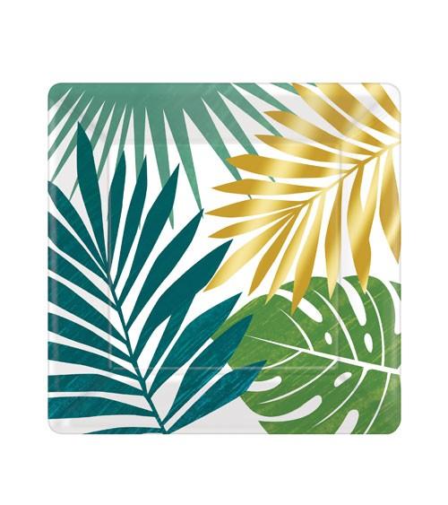 "Kleine eckige Pappteller ""Tropical Gold"" - 8 Stück"