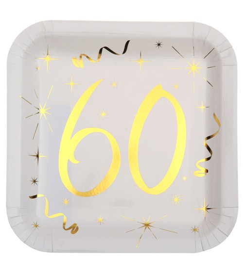 """Viereckige Pappteller """"60"""" - weiß, gold - 10 Stück"""