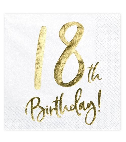 """Servietten """"18th Birthday!"""" - weiß/metallic gold - 20 Stück"""