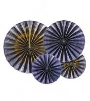 Papierfächer-Set - navyblue/gold - 4-teilig