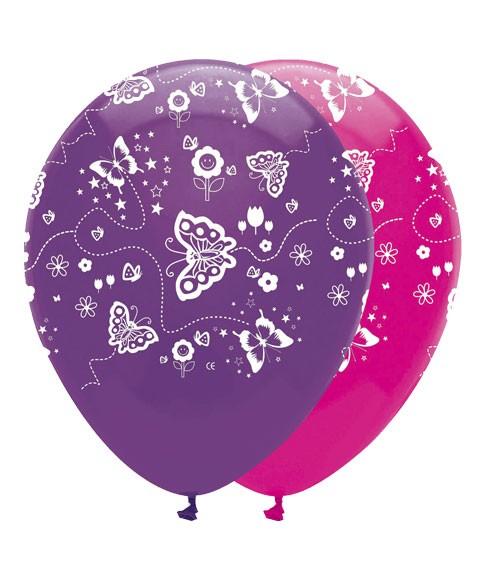 "Luftballon-Set ""Schmetterlinge"" - pink/lila - 6 Stück"