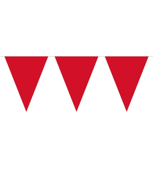 Wimpelgirlande aus Kunststoff - rot - 10m