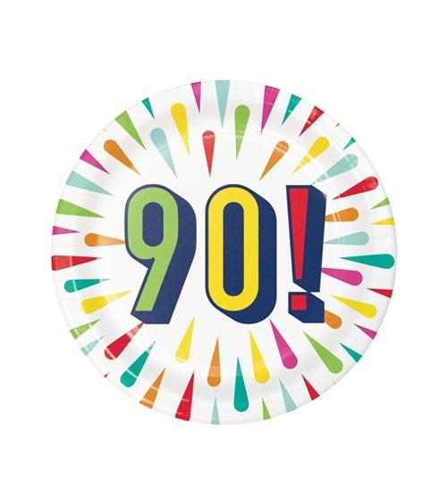 """Kleine Pappteller """"Birthday Colours"""" - 90. Geburtstag - 8 Stück"""