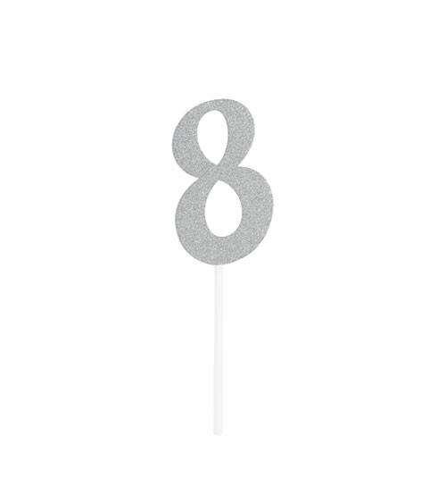 """Kuchen-Topper-Zahl aus Pappe """"8"""" - glitter silber - 5 x 8 cm"""