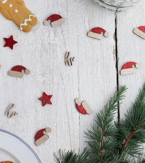 "Streuteile aus Holz mit Glitter ""Santa Hat"" - 24-teilig"