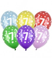 "Metallic-Luftballons ""7"" mit Sternen - 6 Stück"