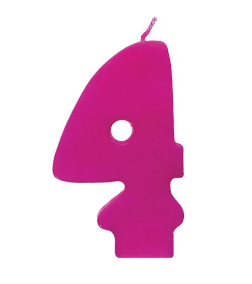 """Geburtstagskerze """"4"""" - pink"""