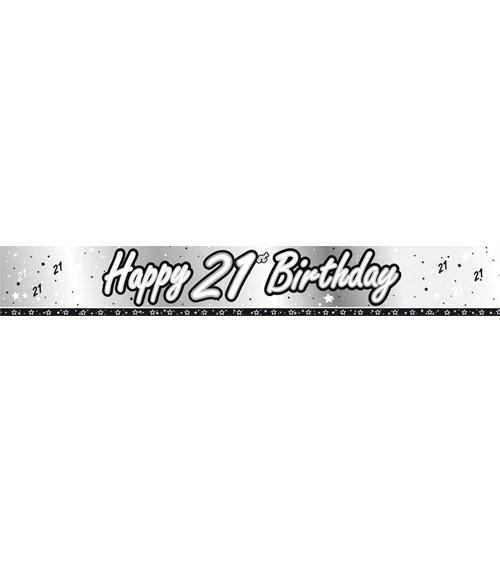 """Folienbanner """"Happy 21st Birthday"""" - silber/schwarz - 2,74 m"""
