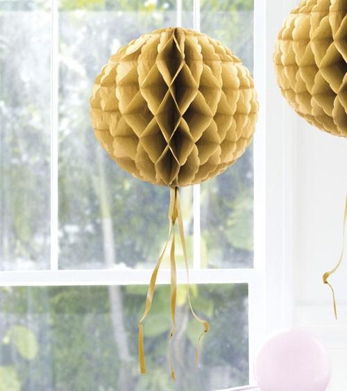 Wabenball mit Tasseln - 30 cm - gold