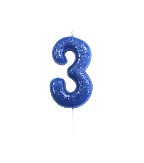 """Geburtstagskerze mit Glitter """"3"""" - blau"""