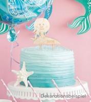 """Dein Cake-Topper """"Meerjungfrau"""" aus Holz - Wunschtext"""