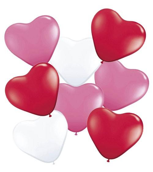 Herz-Luftballon-Set - 25 cm - rot/pink/weiß - 8-teilig