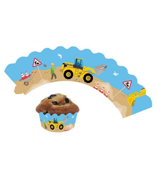 """Cupcake-Wrapper """"Achtung Baustelle"""" - 12 Stück"""
