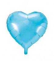 Herz-Folienballon - sky blue - 45 cm