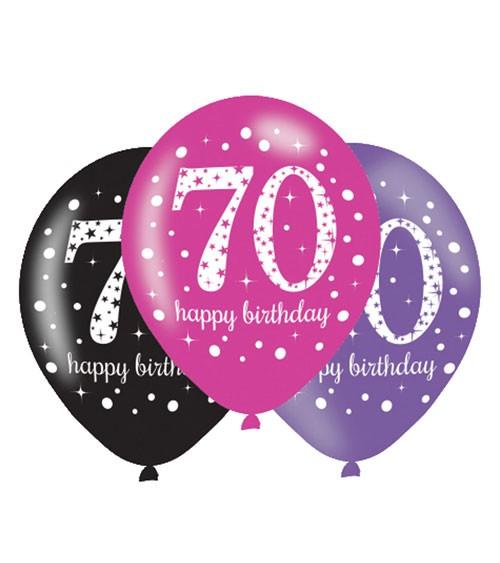 "Luftballon-Set ""Sparkling Pink"" - 70. Geburtstag - 6-teilig"