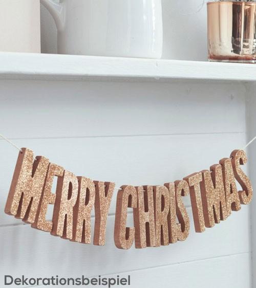 "Holz-Girlande mit Glitter ""Merry Christmas"" - rosegold - 0,7 m"