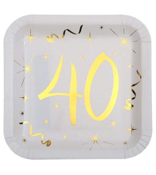 """Viereckige Pappteller """"40"""" - weiß, gold - 10 Stück"""