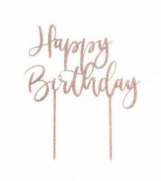 """Cake Topper aus Acryl """"Happy Birthday"""" - glitter rosegold"""