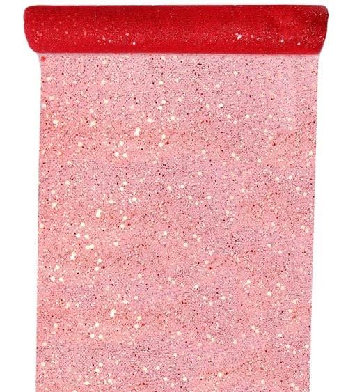 Tischläufer aus Tüll - glitter rot - 30 cm x 5 m